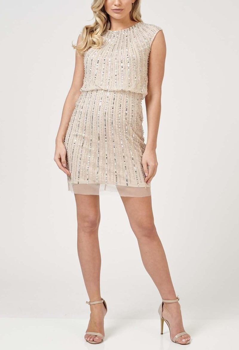 Maje Embellished Mini in Nude