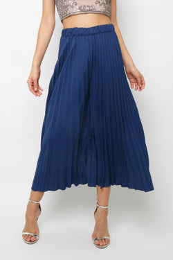 Rohim Pleated Culottes in Navy