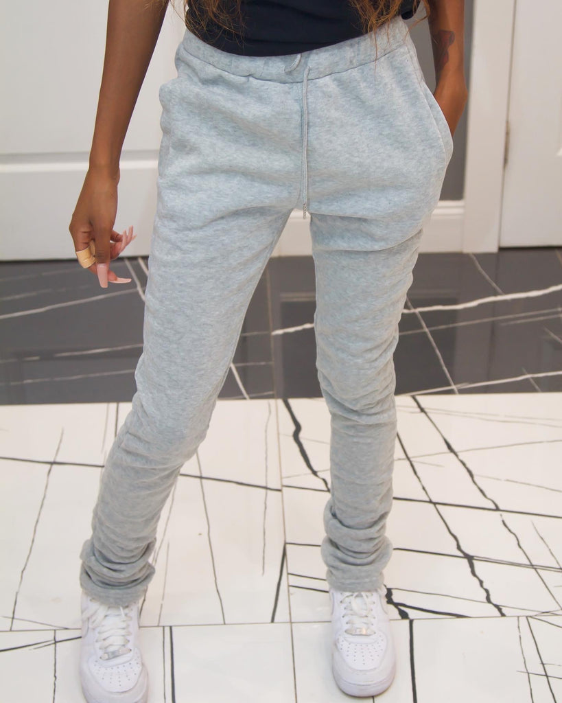 Thick Stacked Sweats - Light Gray