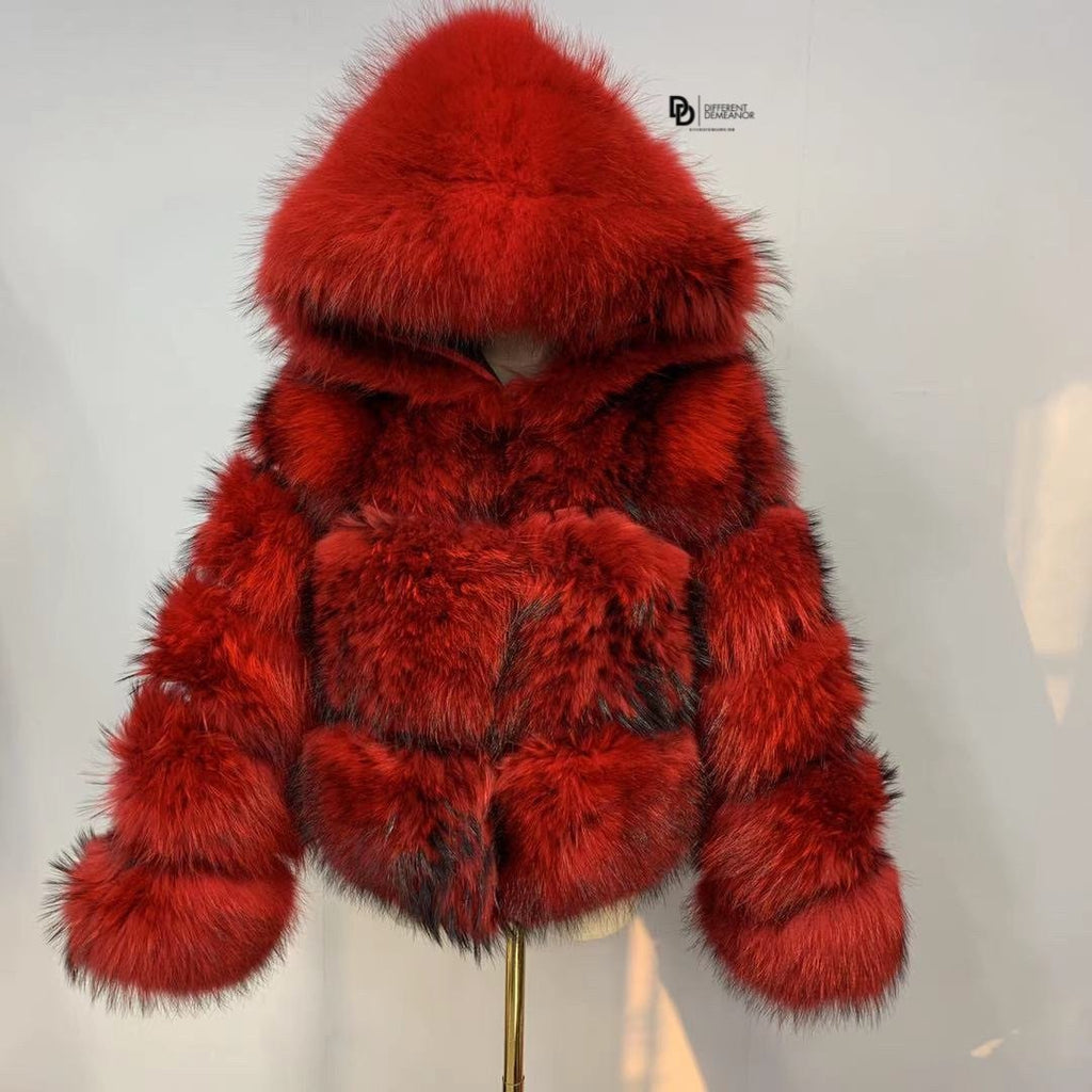Raccoon Fur Coat - Red