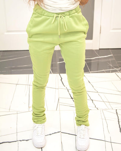 Thick Stacked Sweats - Light Green