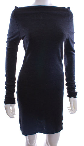 James Perse Charcoal Sweater ALine Cowl Neck Dress Size 1 XSmall - London Couture  - 1