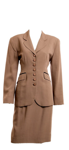 CHRISTIAN DIOR 2pc Taupe Skirt Suit Size 8 - London Couture  - 1