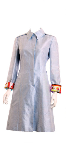 D&G DOLCE & GABBANA Silk Light Blue Trench Coat Size 28/42 New with Tags - London Couture  - 1