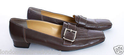 "PRADA SQUARE TOE SILVER BUCKLE WHITE TOP STITCHING 1"" HEEL  BROWN LOAFER SZ 7.5 - London Couture  - 1"