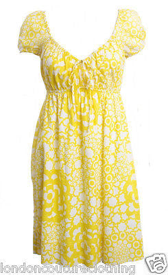 TRINA TURK Yellow and White Cotton Empire Waist Dress Size 2 - London Couture  - 1