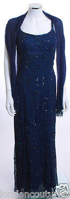 HENBO SPAGHETTI STRAP BEADED SHAWL NAVY BLUE LINED  BEADED FORMAL DRESS SZ 10 - London Couture  - 1