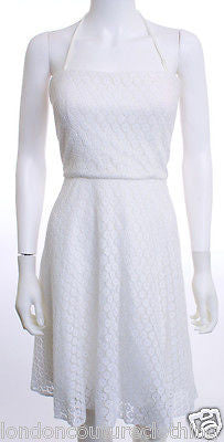 BETSEY JOHNSON Strapless Daisy Eyelet White Dress Size12 - London Couture  - 1