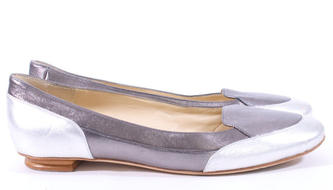 BRUNO MAGLI PEWTER SILVER LEATHER FLATS SIZE 7 US 38 1/2 EURO - London Couture  - 1