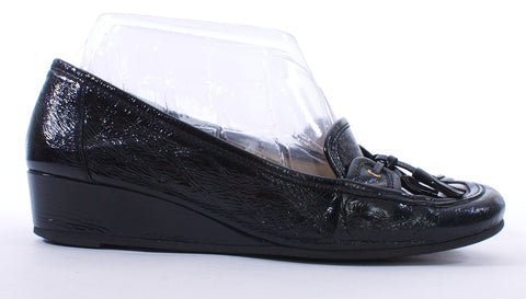 BRUNO MAGLI Wedge Black Patent Leather Loafers Size 7.5 - London Couture  - 1