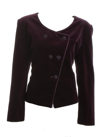 CHRISTIAN DIOR Ox Blood Red Velvet Blazer Size 14 - London Couture  - 1