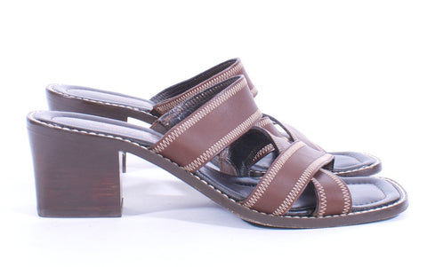 DONALD J PLINER BROWN LEATHER SANDAL SIZE 8.5 - London Couture  - 1