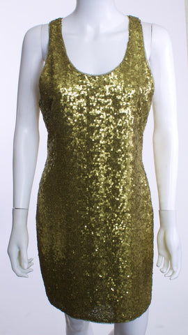 ALICE+OLIVIA  Olive Sequined 100% Silk Dress Size M - London Couture  - 1