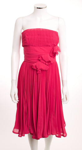 BETSEY JOHNSON EVENING STRAPLESS PLEATS FLOWER PINS EMPIRE PINK DRESS SZ 2 - London Couture  - 1