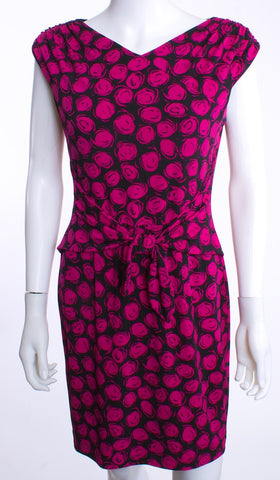 DAVID MEISTER V RUCHED SHOULDER TIE WAIST BLACK FUCHSIA ABSTRACT PRINT DRESS SZ 06 - London Couture  - 1