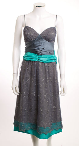 BETSEY JOHNSON NEW YORK Sweetheart Lace Gray Dress Size 8 - London Couture  - 1