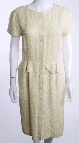 VALENTINO MISS V LACE Print Button Down PEPLUM Short Sleeve IVORY Dress SZ 12 Vintage - London Couture  - 1