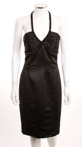 BETSEY JOHNSON EVENING Sweetheart Halter Black Satin Dress Size 8 - London Couture  - 1