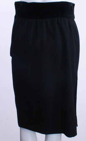 VALENTINO BLACK VELVET/WOOL SIDE BUTTON UP SKIRT SIZE 10 - London Couture  - 1