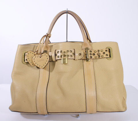 LUELLA HEART CHARM  LOCK KEY TAN SATCHEL HANDBAG - London Couture  - 1