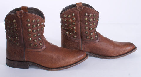 "FRYE ""WYATT"" Boots Studs Short Size 10 Leather Brown - London Couture  - 1"