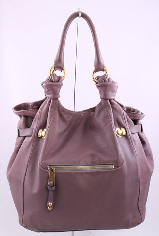 MARC JACOBS Muted Lilac Lavender Leather Large Hobo Shoulder Bag - London Couture  - 1