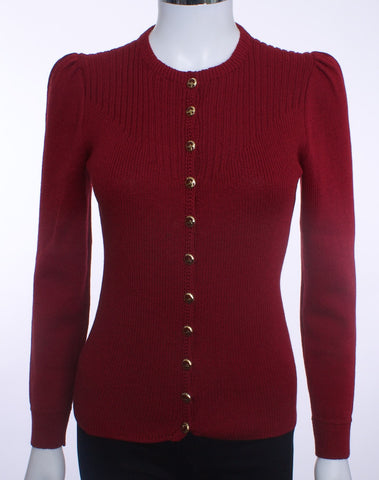 ST JOHN VINTAGE KNIT SWEATER BURGANDY WINE SIZE SMALL - London Couture  - 1