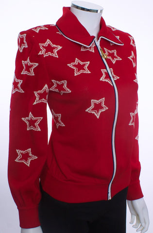 ST JOHN COLLECTION RED WHITE STARS KNIT SWEATER GOLD ANCHOR ON SHOULDER SIZE SMALL - London Couture  - 1