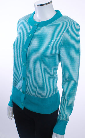 ST JOHN STRIPED BUTTON UP CARDIGAN SEQUINED AQUA WHITE LONG SLEEVED - London Couture  - 1