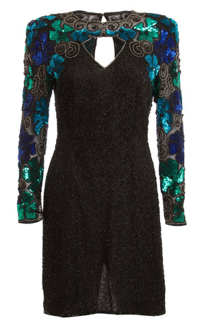 Laurence Kazar Beaded Tunic Shift Black Dress Size Small/ 4 - London Couture  - 1