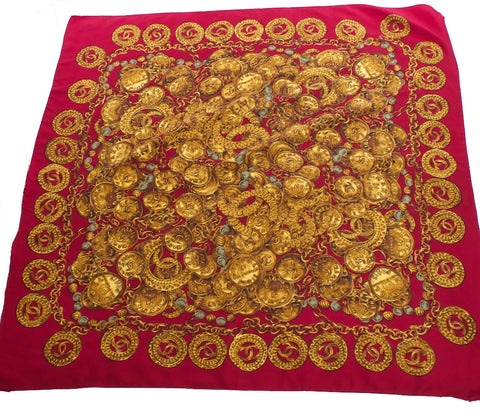 CHANEL Red Square Gold Medallions Silk Scarf - London Couture  - 1