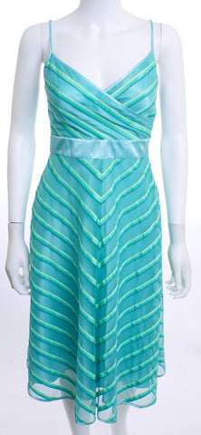 BETSEY JOHNSON NEW YORK Striped Aqua Dress Size 4 - London Couture  - 1