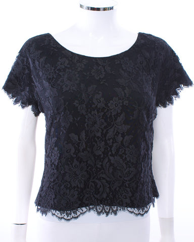 I. MAGNIN & CO VINTAGE BLACK LACE BLOUSE - London Couture  - 1