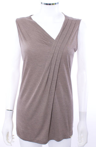 GUCCI DEEP VNECK KNIT TANK TOP BROWN SIZE LARGE - London Couture  - 1