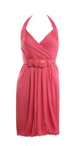 VERSACE Hot Pink Halter Dress Size 38 US 4 With Belt - London Couture  - 1
