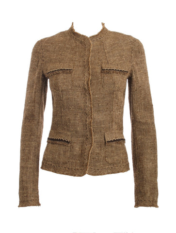 ELIE TAHARI TAN TWEED WOOL BLAZER SIZE SMALL - London Couture  - 1