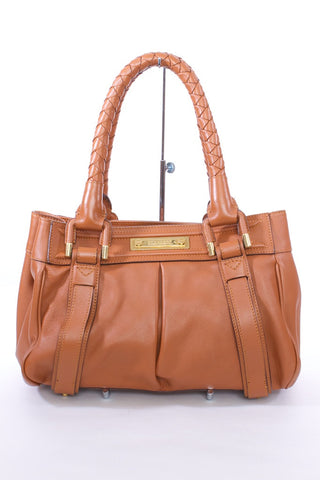 BURBERRY COGNAC LEATHER BRAIDED HANDLE SATCHEL HANDBAG PURSE WITH DUSTBAG - London Couture  - 1