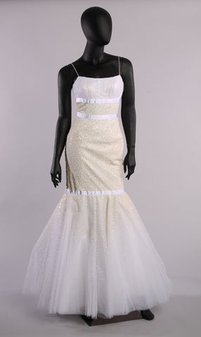 JOVANI WEDDING PAGEANT MERMAID Gown Heavy SEQUINED IVORY Size 2 - London Couture  - 1