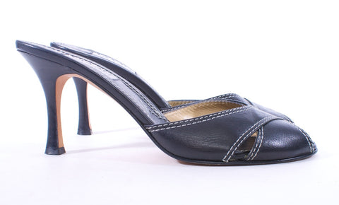 ISAAC MIZRAHI BLACK AND WHITE TOP STITCH  PEEP TOE LEATHER MULES SIZE 9 - London Couture  - 1