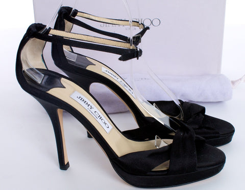 JIMMY CHOO BLACK SATIN STRAPPY SANDALS HEELS SIZE 7US 37 IT - London Couture  - 1