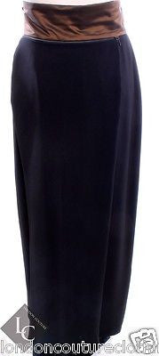 BIANCA BLACK FULL LENGTH WITH BROWN WAISTBAND SKIRT ZIPPER PANEL IN BACK SZ 6 - London Couture  - 1