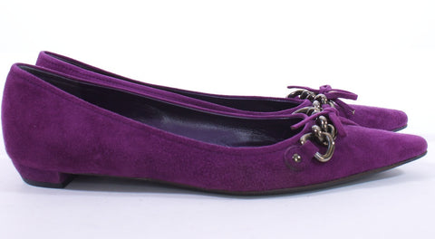 PRADA PURPLE POINTED TOE SUEDE GUNMETAL CHAIN FLATS MADE IN ITALY SIZE 6 - London Couture  - 1