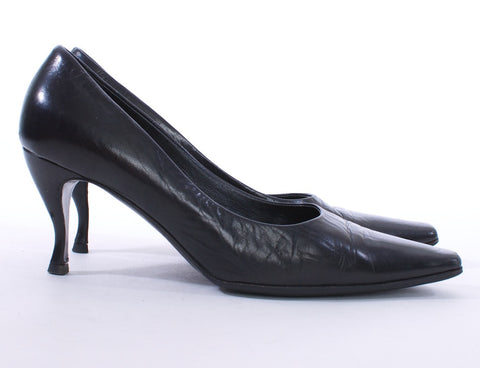 PRADA SQUARE TOE BLACK LEATHER PUMPS SIZE 7 US 37.5 EUR - London Couture  - 1