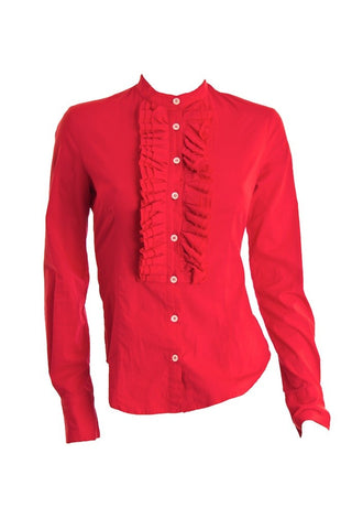 ALEXANDER MCQUEEN Red Ruffle Blouse - London Couture  - 1