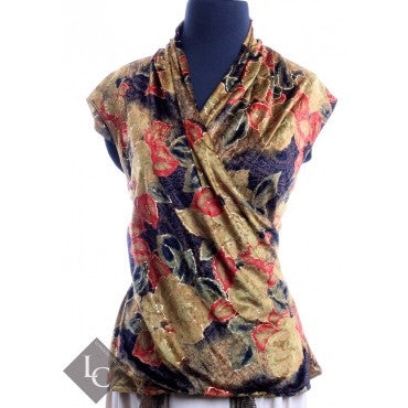 Balenciaga Lush Velour Floral Wrap Top Size 42 - London Couture  - 1