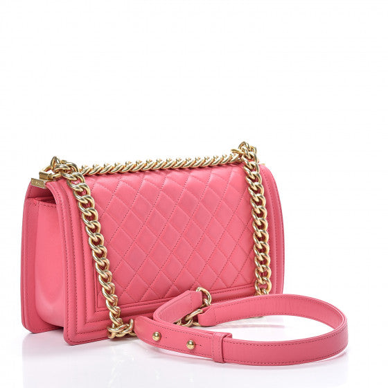 Pink Quilted Flap Bag