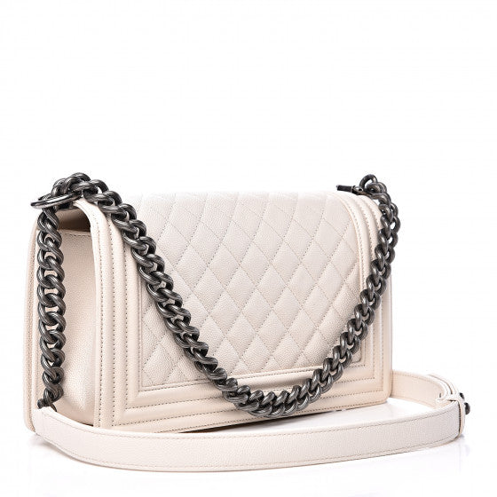 White Quilted Flap Bag