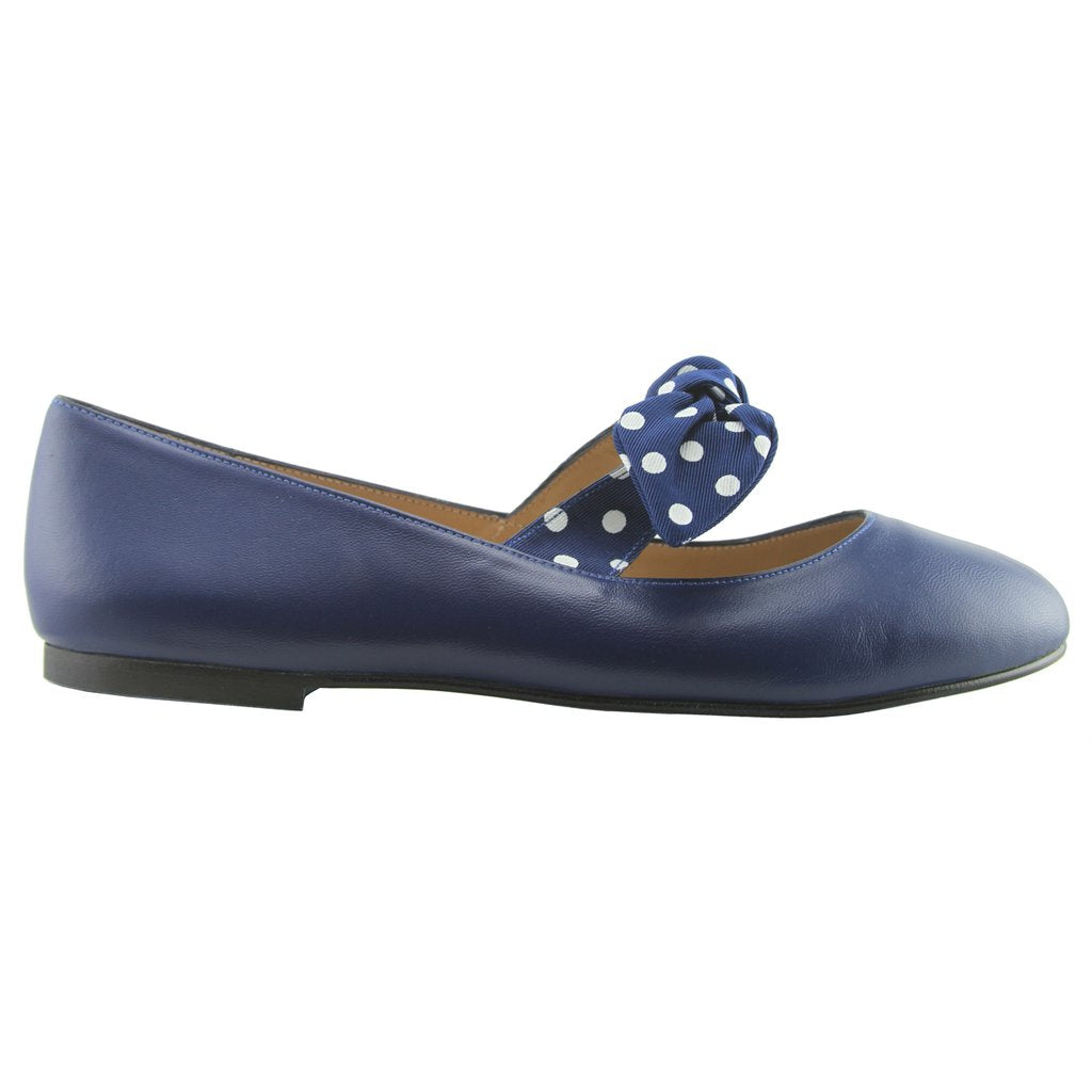 Dotty Navy Leather