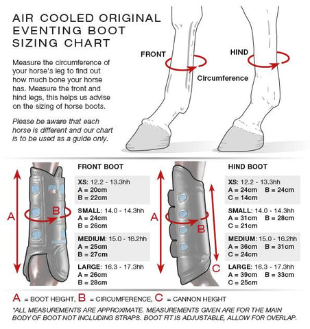 Premier Equine eventing Boot Size Guide