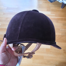 Load image into Gallery viewer, Charles Owen brown velvet Fian helmet,  size 58, brand new! - Robyn's Tack Room